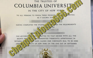 Columbia University degree certificate