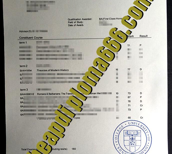 fake King's College London transcript