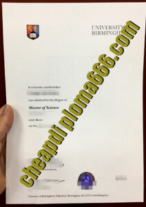 fake University of Birmingham degree certificate