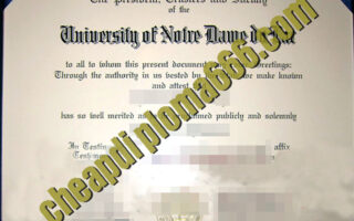 University of Notre Dame degree certificate
