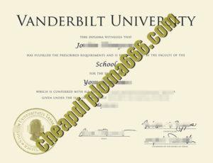 fake Vanderbilt University degree certificate