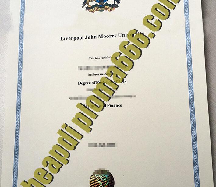 Liverpool John Moores University degree certificate