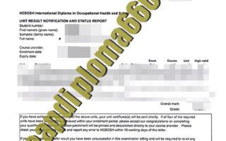 fake NEBOSH International transcript