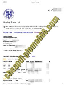 buy Old Dominion University transcript
