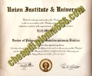 Union Institute & University degree certificate