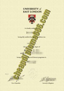 University of East London degree certificate