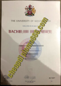 University of Westminster degree certificate