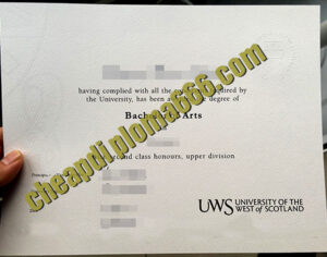 University of the West of Scotland degree certificate