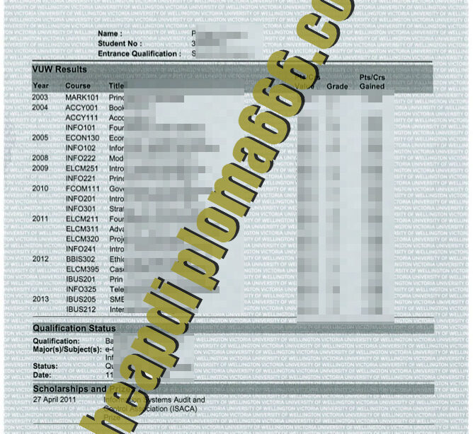 Victoria University of Wellington fake transcript