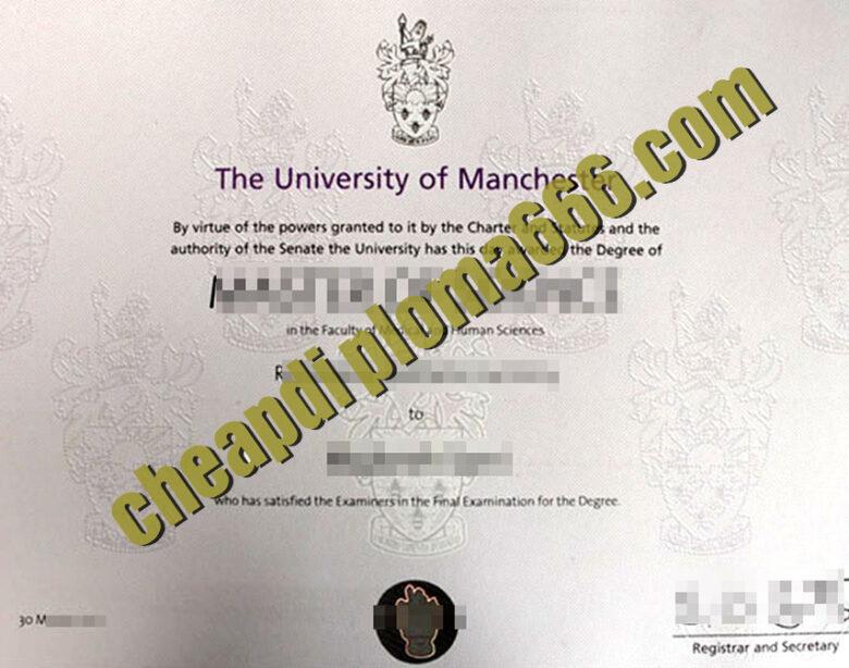 fake University of Manchester degree certificate