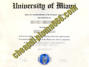 fake University of Miami degree certificate