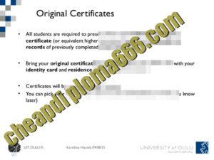 fake University of Oulu degree certificate