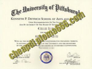 fake University of Pittsburgh degree certificate