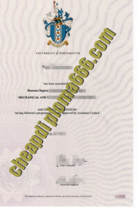 fake University of Portsmouth degree certificate
