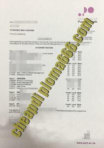 University of Portsmouth fake transcript