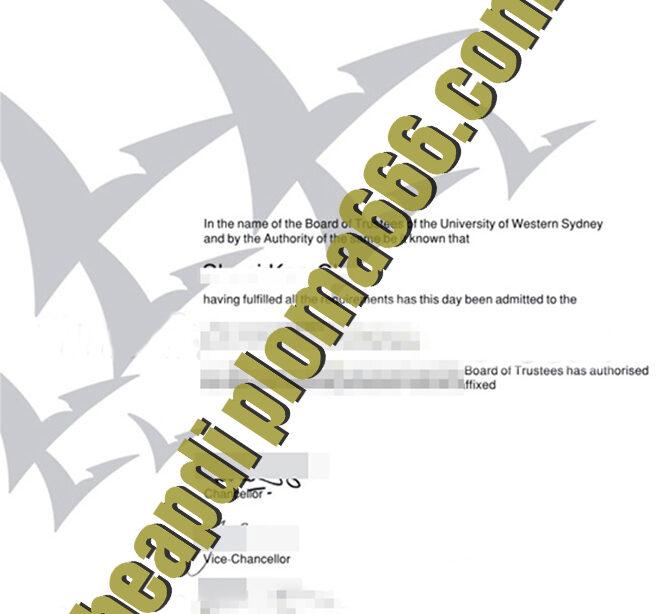 fake University of Western Sydney degree certificate