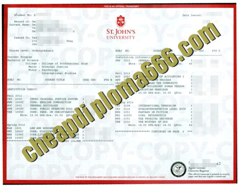 fake York St John University transcript