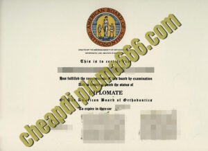 Amercian Board of Orthodontics certificate