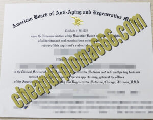American Board of Anti-aging and Regeneratiue Medicine certificate