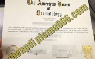 American Board of Dermatology degree certificate