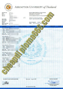 fake Assumption University transcript