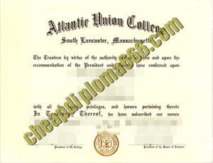 fake Atlantic Union College degree certificate