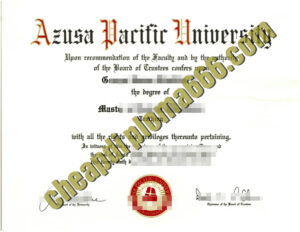 Azusa Pacific University degree certificate