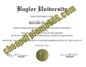 Baylor University degree certificate