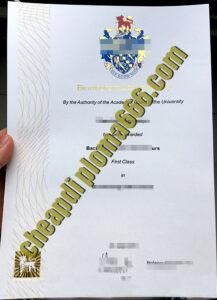 fake Birmingham City University degree certificate