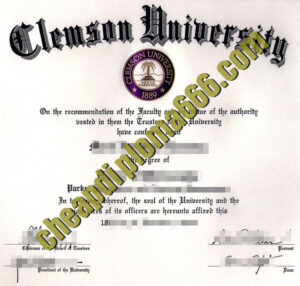 Clemson University degree certificate