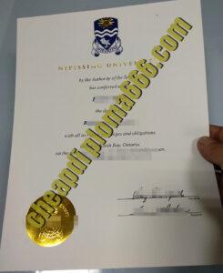 Nipissing University degree certificate
