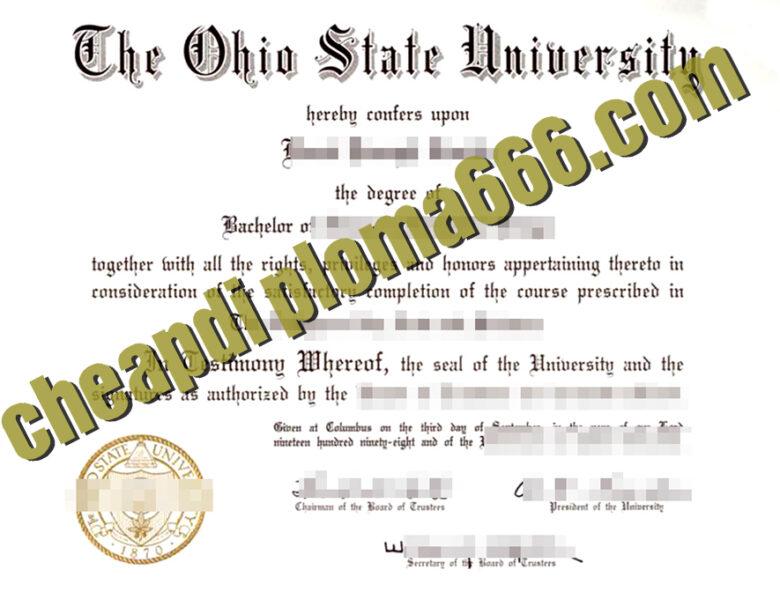 Ohio State University degree certificate