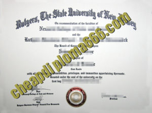 fake Rutgers University – New Brunswick degree certificate