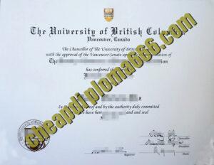 UBC Sauder School of Business fake degree certificate