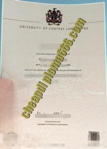 University of Central Lancashire degree certificate
