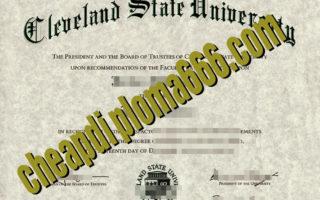 fake Cleveland State University diploma