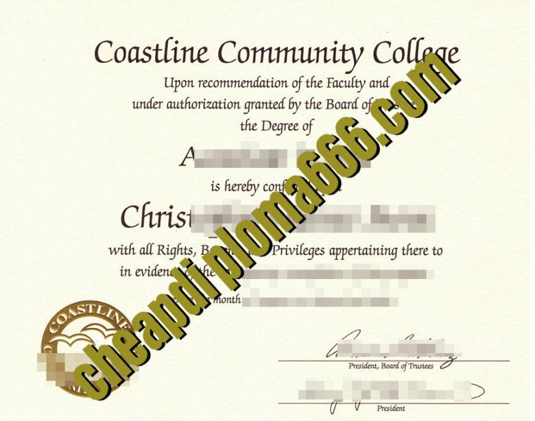 fake Coastline Community College degree certificate
