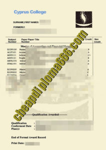 fake Cyprus College transcript