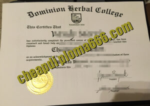 Dominion Herbal College certificate