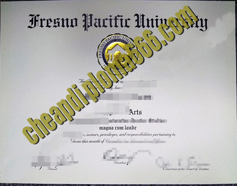 Fresno Pacific University degree certificate