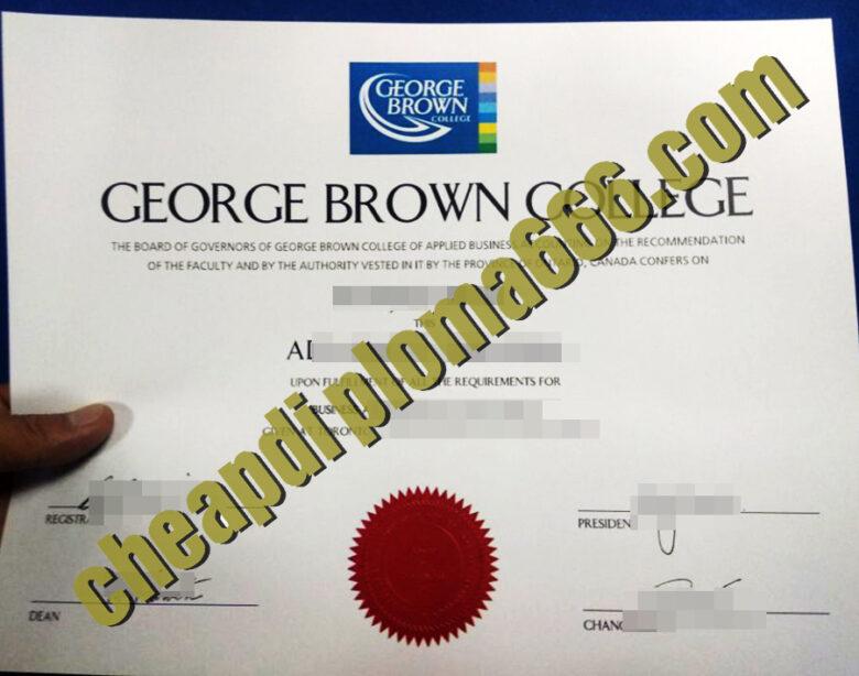 George Brown College degree certificate