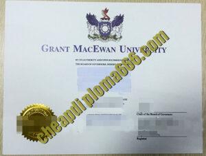 fake Grant MacEwan University degree certificate
